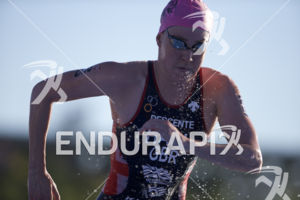 Lucy Hall is the first female out of the water at the 2018 Beijing International Triathlon on September 23, 2018 in Beijing, China.