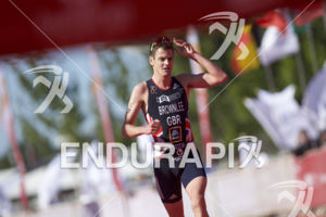 Jonny Brownlee about to claim victory at the 2018 Beijing International Triathlon on September 23, 2018 in Beijing, China.