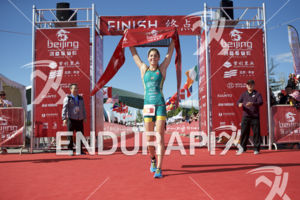 Ashleigh Gentle is victorious at the 2018 Beijing International Triathlon on September 23, 2018 in Beijing, China.