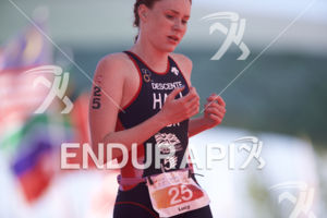 Lucy Hall reaches the finish line at the 2018 Beijing International Triathlon on September 23, 2018 in Beijing, China.
