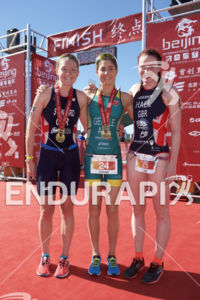 Non Stanford, Ashleigh Gentle and Lucy Hall (left to right) at the 2018 Beijing International Triathlon on September 23, 2018 in Beijing, China.