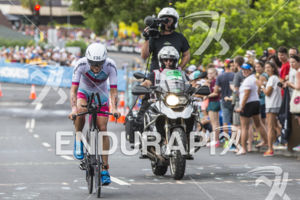 Lauren Brandon (USA) passes through the hot corner early in the bike at the 2018 Ironman World Championship in Kailua Kona, HI on October 13 2018.