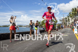 Daniela Ryf (SUI) — on run and will finish in 8:26:16 (Course Record) at the 2018 Ironman World Championship in Kailua Kona, HI on October 13 2018.