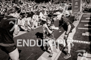 Patrick Lange (GER) proposes to his girlfriend Julia Hofmann at the finish of the 2018 Ironman World Championship in Kailua-Kona, HI on October 13, 2018.