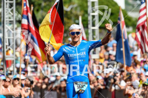 Andreas Dreitz (GER) at the finish of the 2018 Ironman World Championship in Kailua-Kona, HI on October 13, 2018.