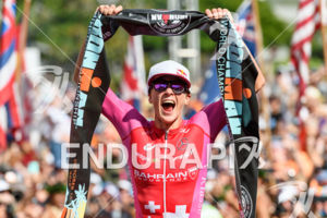 Daniela Ryf (SUI) at the finish of the 2018 Ironman World Championship in Kailua-Kona, HI on October 13, 2018.