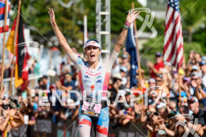 Lucy Charles (GBR) at the finish of the 2018 Ironman World Championship in Kailua-Kona, HI on October 13, 2018.