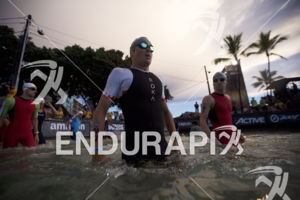 Javier Gomez Noya prepares for the swim start at the 2018 Ironman World Championship in Kailua Kona, HI on October 13 2018.