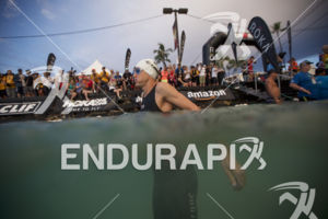 Josh Amberger prepares for the swim start at the 2018 Ironman World Championship in Kailua Kona, HI on October 13 2018.
