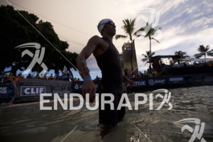 Thiago Vinhal prepares for the swim start at the 2018 Ironman World Championship in Kailua Kona, HI on October 13 2018.