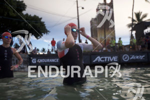 Lucy Charles prepares for the swim start at the 2018 Ironman World Championship in Kailua Kona, HI on October 13 2018.