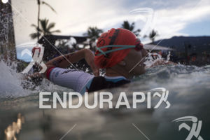 Lauren Brandon enters the water at the 2018 Ironman World Championship in Kailua Kona, HI on October 13 2018.