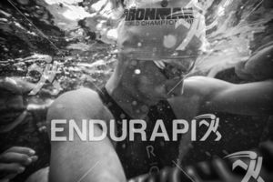 An age grouper at the swim start of the 2018 Ironman World Championship in Kailua Kona, HI on October 13 2018.