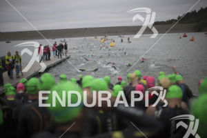 The swim leg at the 2019 Ironman Santa Rosa triathlon held in Sonoma County, CA on May 11, 2019.