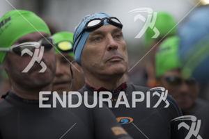 The swim start at the 2019 Ironman Santa Rosa triathlon held in Sonoma County, CA on May 11, 2019.