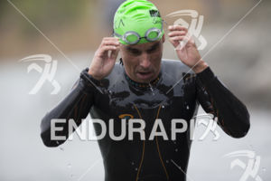 The swim exit at the 2019 Ironman Santa Rosa triathlon held in Sonoma County, CA on May 11, 2019.