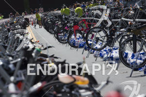 Bikes begin to line up at transition area 2 (T2) at the 2019 Ironman Santa Rosa triathlon held in Sonoma County, CA on May 11, 2019.
