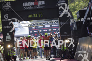 The finish line at the 2019 Ironman Santa Rosa triathlon held in Sonoma County, CA on May 11, 2019.