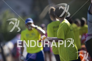 An aid station along the run course at the 2019 Ironman Santa Rosa triathlon held in Sonoma County, CA on May 11, 2019.