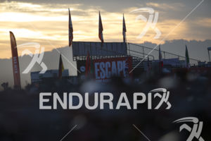 The early morning sun rises over the transition area at the 2019 Escape From Alcatraz Triathlon held on June 9, 2019 in San Francisco, CA.