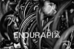 Bikes line the transition area at the 2019 Escape From Alcatraz Triathlon held on June 9, 2019 in San Francisco, CA.
