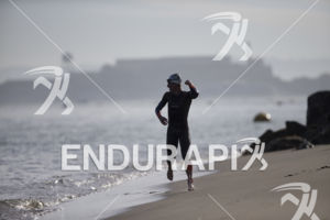 Josh Amberger exits the swim leg first at the 2019 Escape From Alcatraz Triathlon held on June 9, 2019 in San Francisco, CA.
