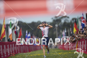Ben Knute claims victory at the 2019 Escape From Alcatraz Triathlon on June 9, 2019 in San Francisco, CA.
