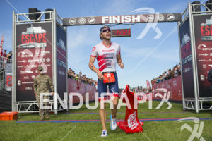 Ben Kanute claims victory at the 2019 Escape From Alcatraz Triathlon on June 9, 2019 in San Francisco, CA.