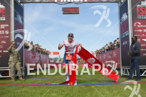 Ben Kanute claims victory at the 2019 the Escape From Alcatraz Triathlon on June 9, 2019 in San Francisco, CA.