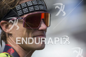 Josh Amberger at the finish line of the 2019 Escape From Alcatraz Triathlon held on June 9, 2019 in San Francisco, CA.