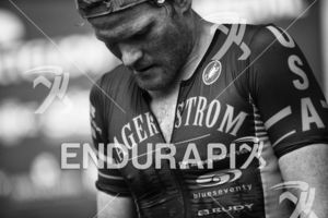 Eric Lagerstrom reaches the finish line at the 2019 Escape From Alcatraz Triathlon held on June 9, 2019 in San Francisco, CA.