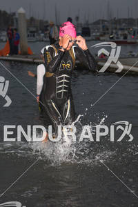 Linsey Corbin exits water at the  Ironman 70.3 California on March 31, 2012  in Oceanside, CA