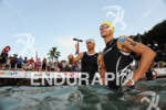 Georg Potrebitsch (left) and Andreas Raelert before the swim start…