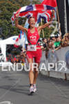 Chrissie Wellington of Great Britain approaching the finish at the…