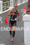 Lesley Paterson rounds corner on run at the  Ironman 70.3…