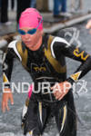 Magali Tisseyre exits water at the  Ironman 70.3 California on…