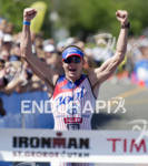 Ben Hoffman reacts as he heads to the finish line…