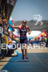 Magali Tesseyre finishes the run at the Avia Wildflower Triathlon…