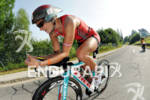 Linsey Corbin on the bike at the Ironman Austria on…