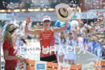 Linsey Corbin at the finish of the Ironman Austria on…
