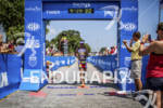 Crowie finishing the race at the Ironman 70.3 Racine, in…