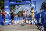 Jessica Jacobs at the finish of the Ironman 70.3 Racine,…