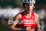 Sarah Piampiano enters T1 at the Ironman Lake Placid Triathlon…