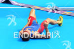 Silver Medal winner Javier GOMEZ (ESP) lies at the finish…