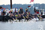 Pro women dive into the Hudson River to start the…