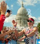 Ben Hoffman accepting congratulations at the finish line after his…