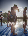 Professional female triathlete Ricarda Lisk prepares to start at the…