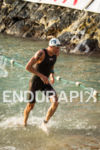 Andy Potts exits the swim first at the Ironman World…