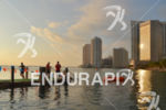 Swimming at bayfront during the Ironman 70.3 Miami in Miami,…