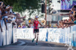 Linsey Corbin wins and celebrates down the finish at the…